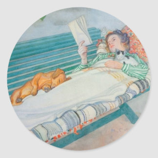 Woman and Dog on a Bench Classic Round Sticker