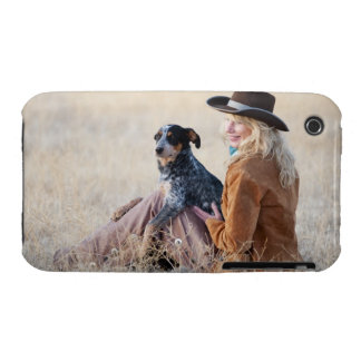 Woman and dog sitting in field iPhone 3 Case-Mate case