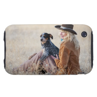 Woman and dog sitting in field tough iPhone 3 cases