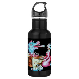 Woman and Fire Breathing Dragon Vintage 532 Ml Water Bottle