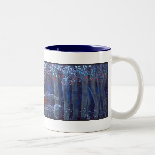 Woman and Forest Animal Spirits Mugs