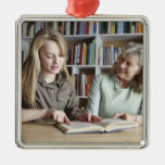 Woman and granddaughter reading together Silver-Colored square decoration