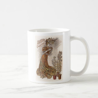 Woman and Lilies Antique Easter Basic White Mug