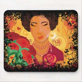 Woman and Love Roses - mousepad