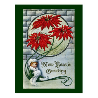 Woman and Red Poinsettias Vintage New Year Postcard