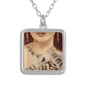 Woman and tiger-cub,fashion,inspired art. silver plated necklace