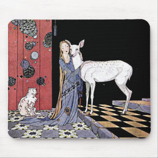 Woman and White Fawn Illustration Mousepad