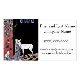 Woman and White Fawn Illustration Pack Of Standard Business Cards