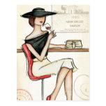 Woman and Wine Glass Postcard