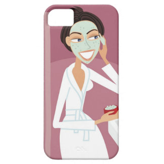 Woman applying facial mask barely there iPhone 5 case