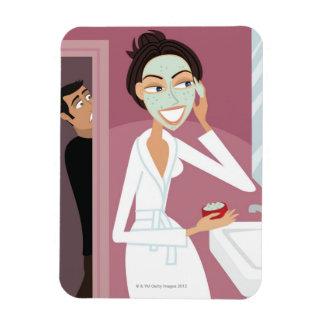 Woman applying facial mask vinyl magnet