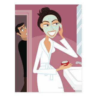 Woman applying facial mask postcard