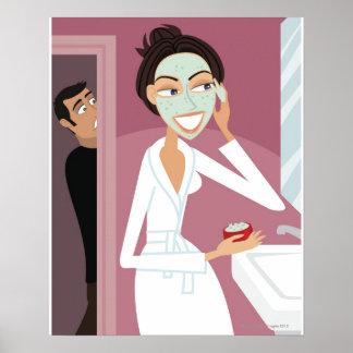 Woman applying facial mask poster