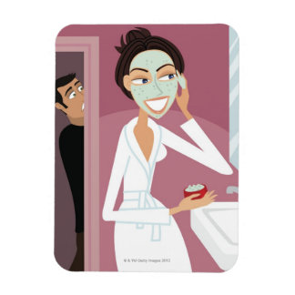 Woman applying facial mask rectangular photo magnet