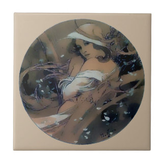 Woman Art Nouveau Mucha Winter Tile