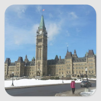 Woman at Canadian Parliament in Ottawa Square Sticker