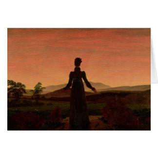 Woman at dawn greeting card