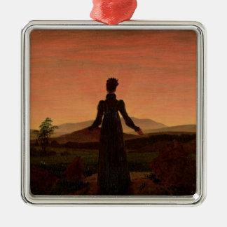 Woman at dawn christmas ornament