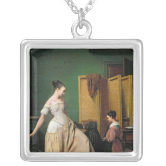 Woman at her Toilet, 1835 Silver Plated Necklace