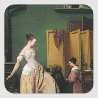 Woman at her Toilet, 1835 Square Sticker