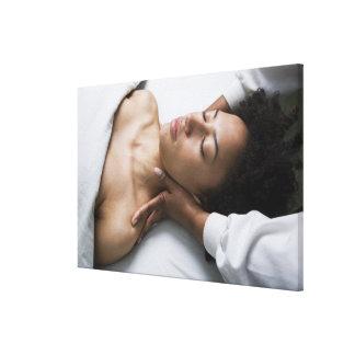 Woman at spa canvas print