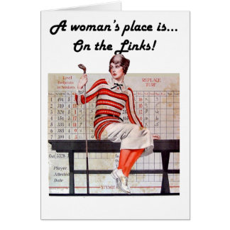 Woman at the links greeting cards
