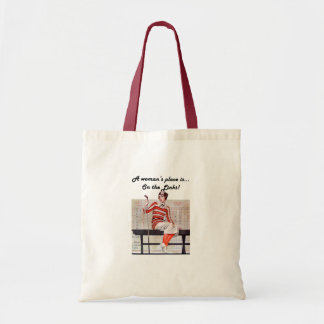 Woman at the links tote bag