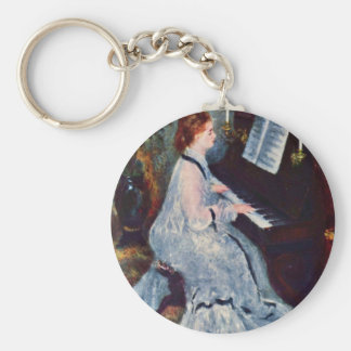 Woman At The Piano By Pierre-Auguste Renoir Basic Round Button Key Ring