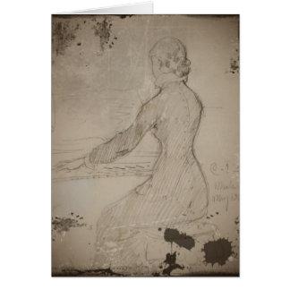 Woman at the Piano (Dam Vid Piano) Greeting Card