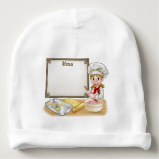 Woman Baker or Pastry Chef Menu Sign Baby Beanie