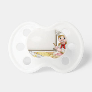 Woman Baker or Pastry Chef Menu Sign Baby Pacifier