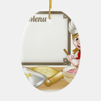 Woman Baker or Pastry Chef Menu Sign Ceramic Oval Decoration