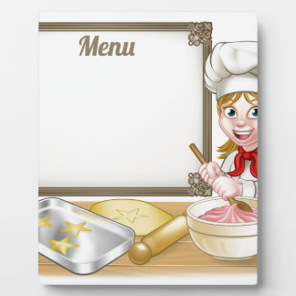 Woman Baker or Pastry Chef Menu Sign Display Plaque