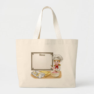 Woman Baker or Pastry Chef Menu Sign Large Tote Bag