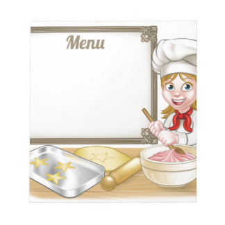 Woman Baker or Pastry Chef Menu Sign Notepads