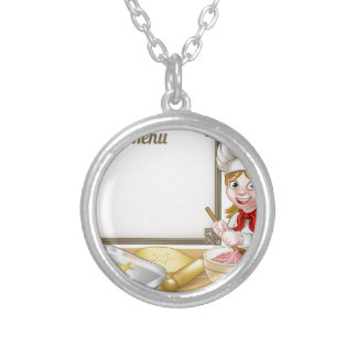 Woman Baker or Pastry Chef Menu Sign Silver Plated Necklace