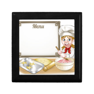 Woman Baker or Pastry Chef Menu Sign Small Square Gift Box