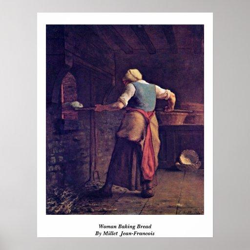 Woman Baking Bread By Millet (Ii) Jean-Francois Poster