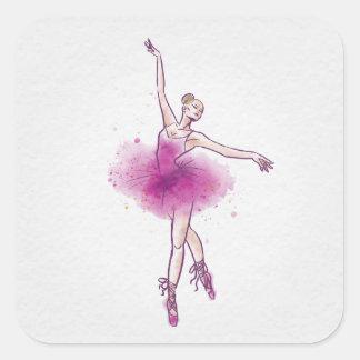 woman ballet dancer square sticker