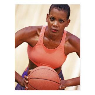 Woman basketball player postcard