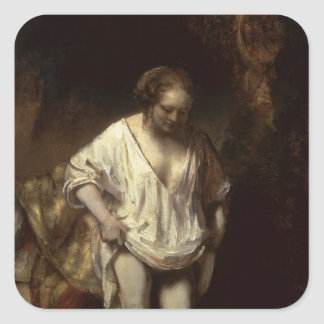Woman Bathing in a Stream, 1654 Square Sticker