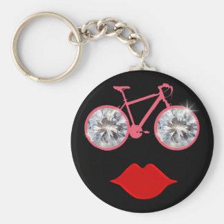 woman bike mouth diamond basic round button key ring