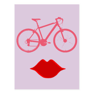 woman bike mouth postcard