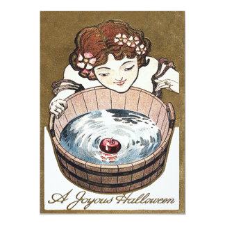 Woman Bobbing For Apples Halloween Party 13 Cm X 18 Cm Invitation Card