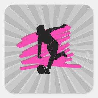 woman bowler bowling silhouette square sticker