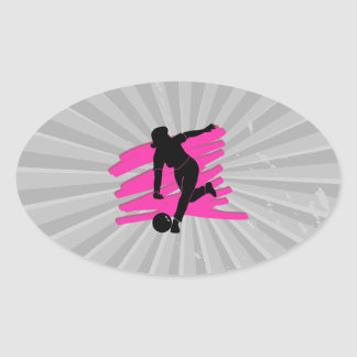 woman bowler bowling silhouette oval sticker