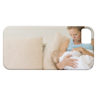 Woman breastfeeding baby iPhone 5 covers