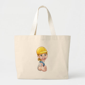 Woman Builder Carpenter Mechanic or Plumber Large Tote Bag