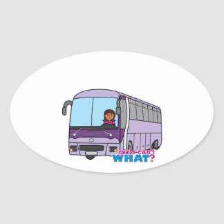 Woman Bus Driver Oval Sticker