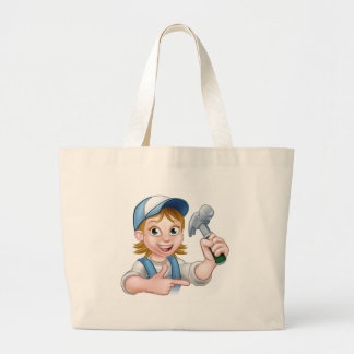 Woman Carpenter Holding a Hammer Large Tote Bag